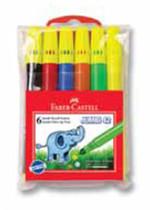 Faber-Castell Jumbi-Neon Floresan Markör, 6 Lı Poşet - 5068030642