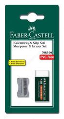 Faber-Castell Metal Kalemtraş + 7085/30 Silgi Seti Blister - 5500185685