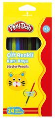 Play-Doh 24 Renk 12'li Bicolor Kuruboya Kalemi PLAY-KU011