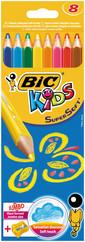 Bic Supersoft Kuru Boya 8'Li Kutu + Jumbo Kalem Tıraş - 895921
