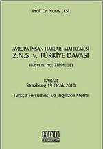 Avrupa İnsan Hakları Mahkemesi Z.N.S. v. Türkiye Davası