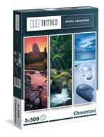 Clementoni-Trittico Nature 3X500 Parça Puzzle 39800