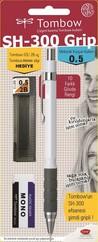 Tombow SH-300 Grip Mekanik Kurşun Kalem 0,5mm Okul Seti Beyaz
