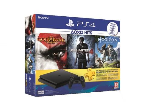 PS4 500GB E + HZD + GOW 3 + UC4 + 3M PS Plus
