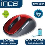 INCA IWM-280K 2.4Ghz Nano 10 Mt Wireless Mouse Kirmizi-Siyah