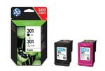 HP N9J72AE (301) Siyah/Üç Renkli 2Li Paket Mürekkep Kartuşları