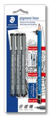 Staedtler 308 Sbk3P Pigment Liner Blister Set (3 Adet Siyah ( 0.3/0.5/0.7) ,Silgi,Kalemtraş,Kursun K