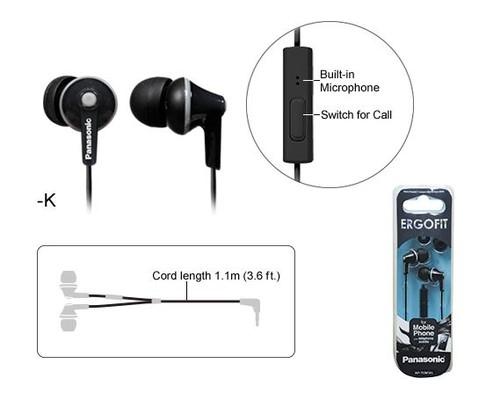 Panasonic RP-TCM125E-K Mikrofonlu Kulakiçi Kulaklık Siyah