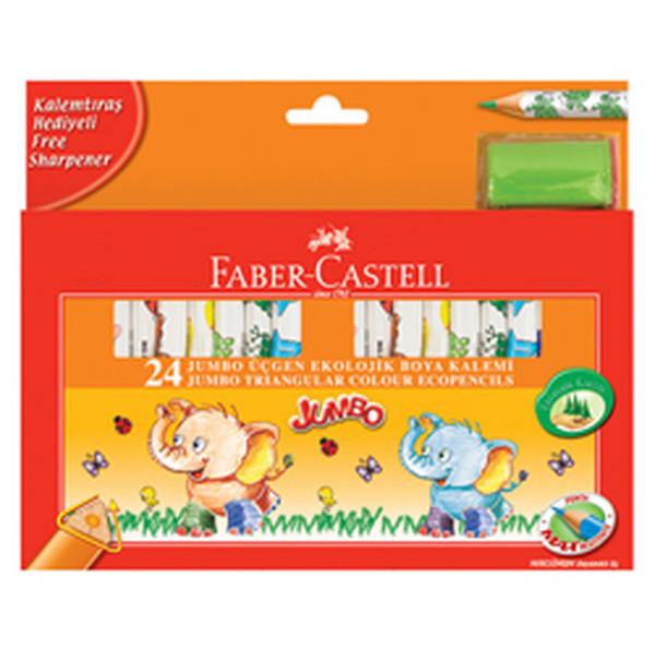 Faber-Castell Jumbo Üçgen Ekolojik Boya Kalemi, 24 Renk - 5171123024